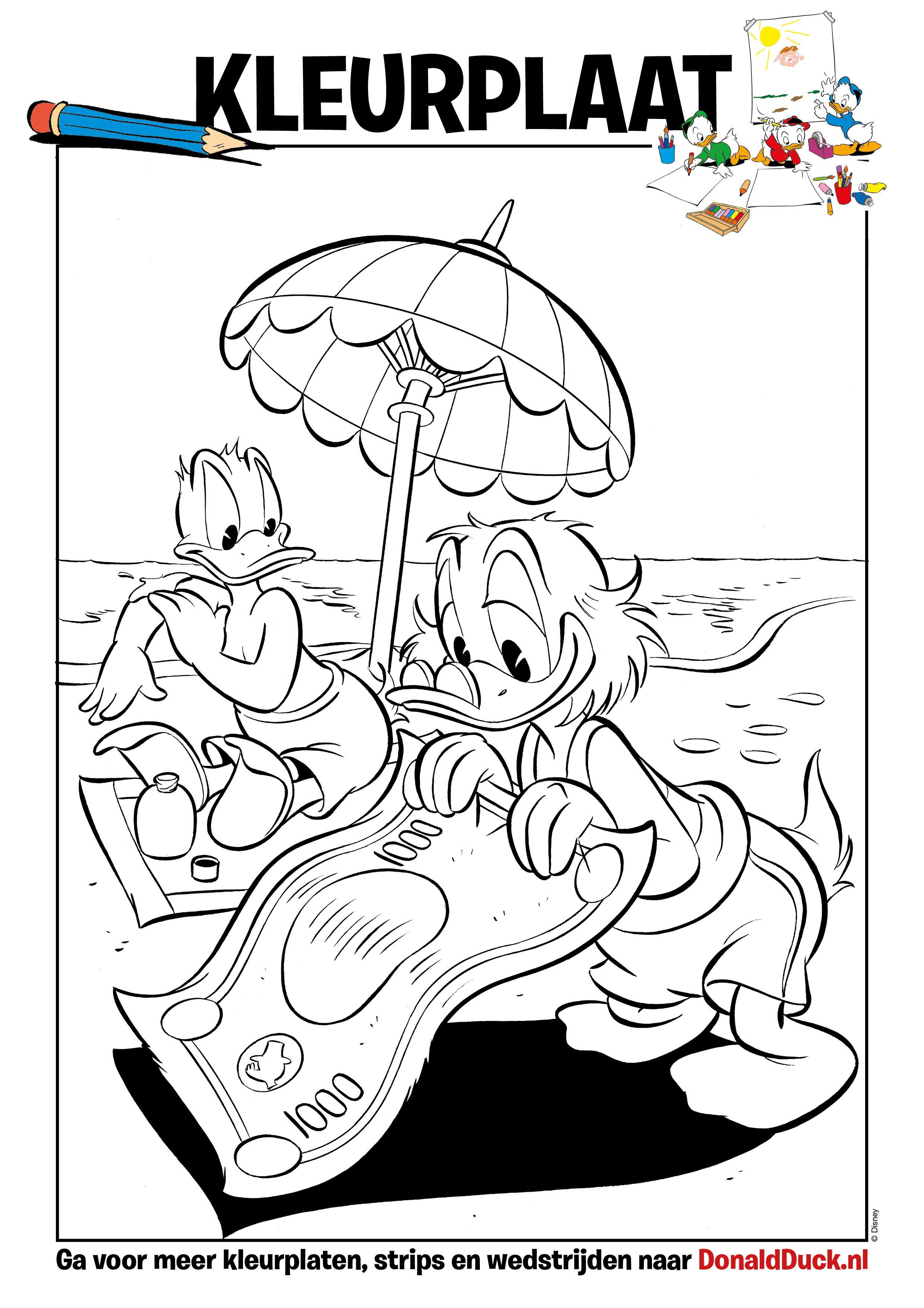 kleurplaat strand donald duck