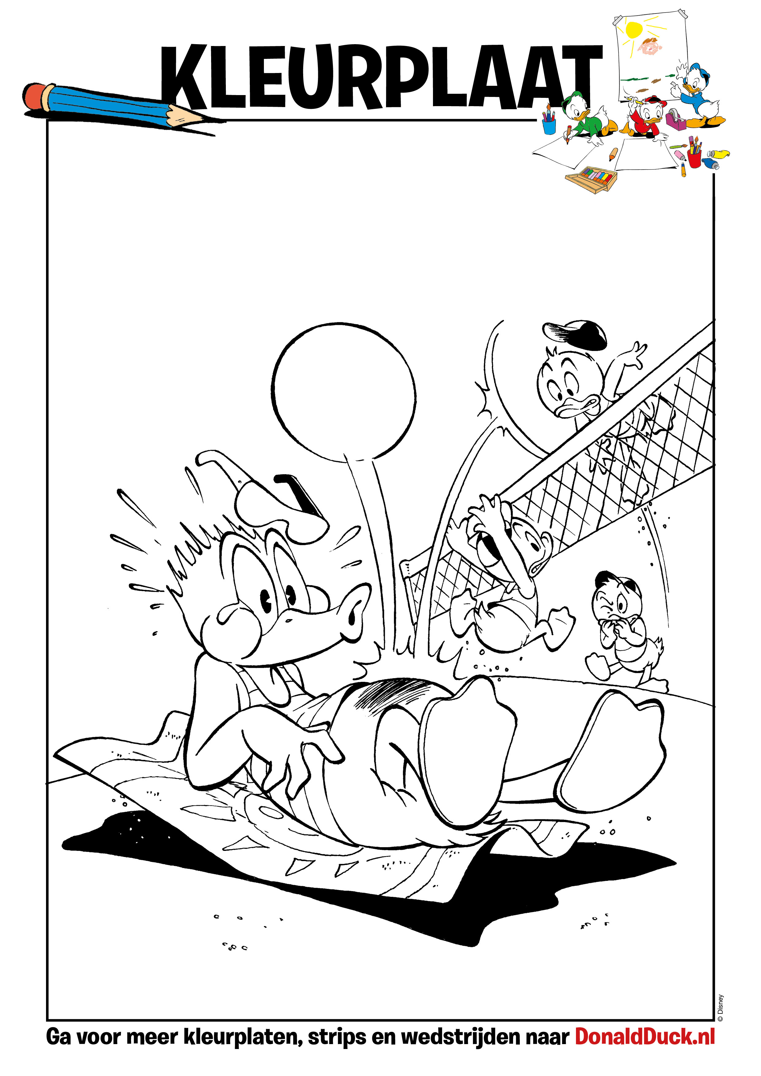 Donald Duck Junior Kleurplaten.Kleurplaat Volleybal Donaldduck Nl