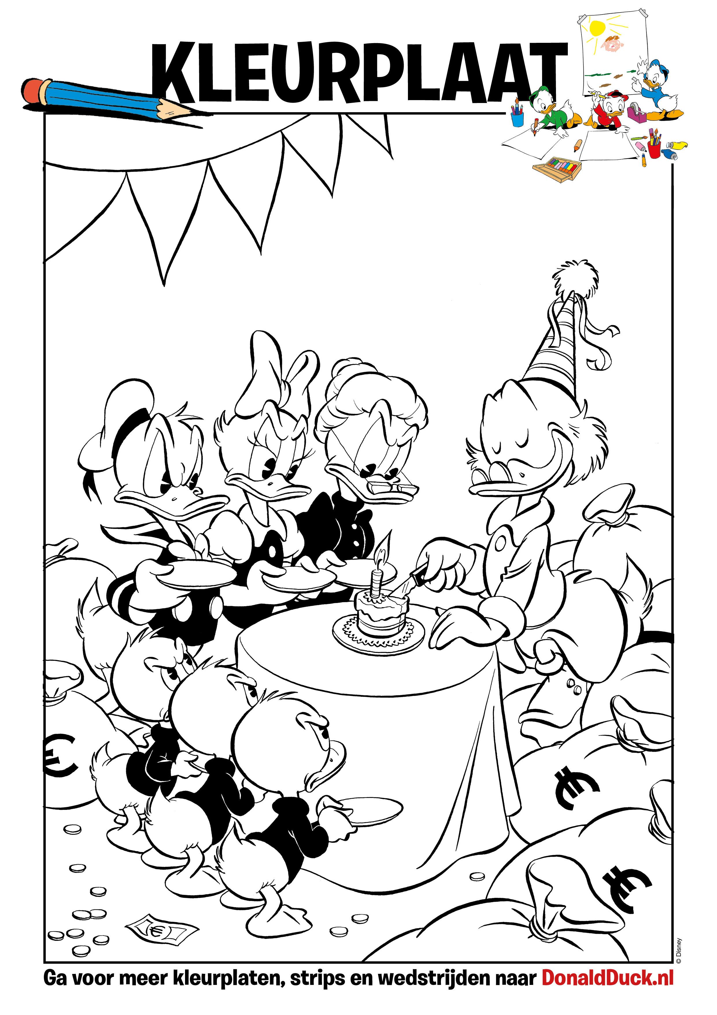 kleurplaat verjaardag donald duck