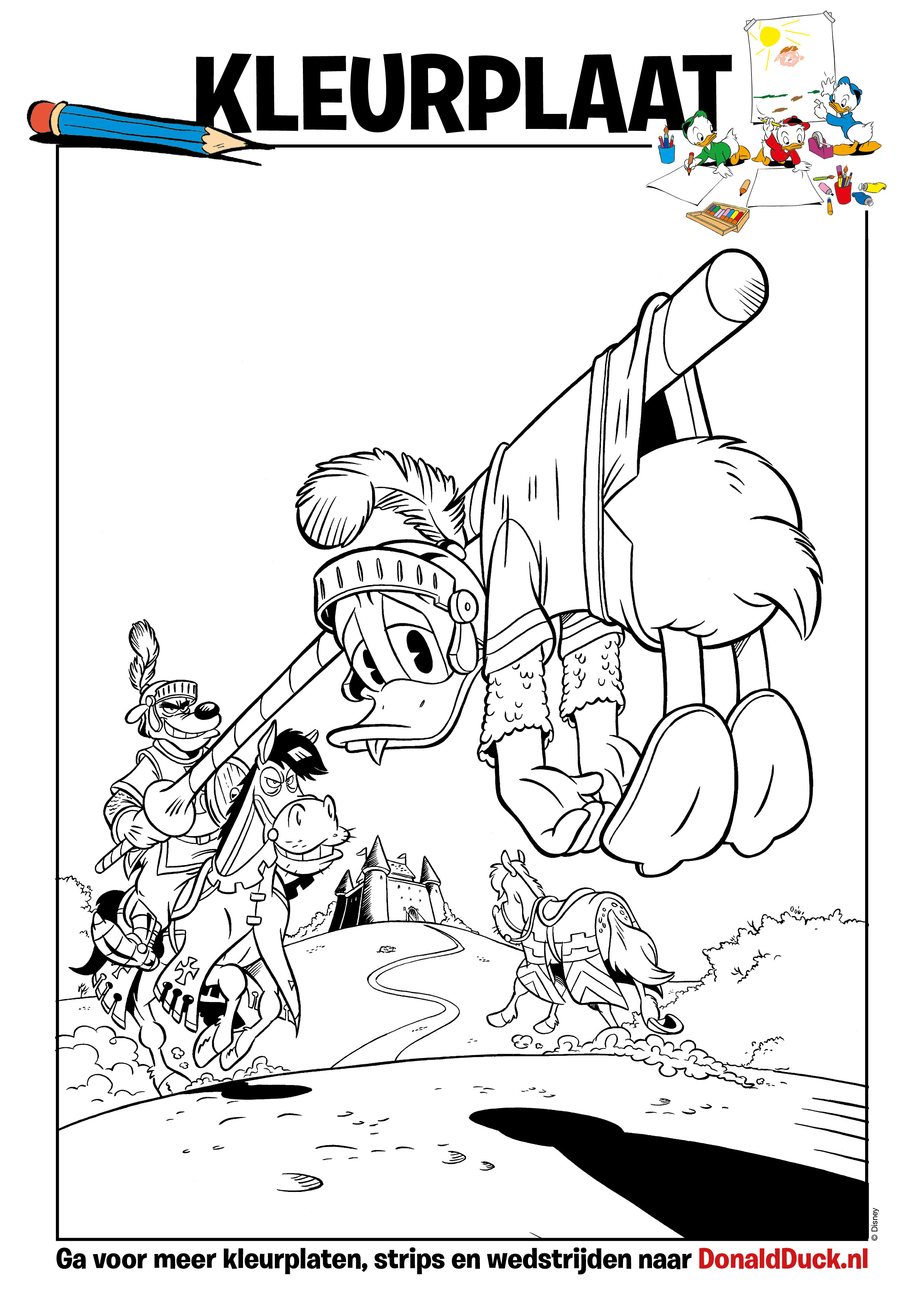 Donald Duck Junior Kleurplaten.Kleurplaat Ridder Donald Donald Duck